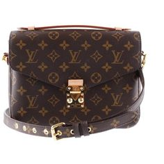 Louis Vuitton Louis Vuitton Pochette Metis monogram of canvas top! ❤ liked on Polyvore featuring bags, handbags, clutches, monogrammed purses, red purse, louis vuitton, louis vuitton clutches and monogrammed handbags