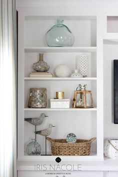 Shop the House-Shelf Styling - Welcome back friends! It's time for the second installment of the Shop Your House series. House Shelves, Living Room Shelves, Living Room Decor, Dining Room, Decorating Bookshelves, Bookshelf Styling, Rustic Bookshelf, Coffee Table Design, Deco Marine