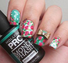 The Clockwise Nail Polish: Mollon Pro Monophase 46 Giada Gel Polish Review & Roses Nail Art