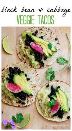 Sauteed Cabbage, Watermelon Radish, Black Beans, and Avocado Tacos