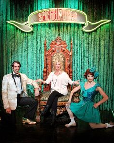 Olivia Newton-John with The Gazillionaire and Penny Pibbets at ABSINTHE in Las Vegas (Photo credit: Ben Lewis/Spiegelworld). Las Vegas Photos, Caesars Palace, Christina Perri, Olivia Newton John, Burlesque, Carnival, Pin Up, Aurora Sleeping Beauty, Stars