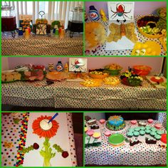 Eric Carle baby shower. *Image only*  I like the sunflower made from carrots and celery!