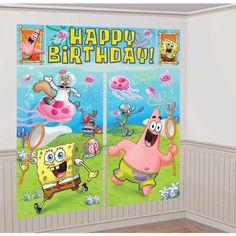 Party in Bikini Bottom with our SpongeBob Scene Setter! SpongeBob Scene Setter depicts SpongeBob, Patrick, Sandy, Gary, Squidward and Mr. Krabs with a 'Happy Birthday' headline. Spongebob House, Spongebob Birthday Party, Spongebob Superhero, Spongebob Patrick, Superhero Party, Spongebob Background, Scene Setters, Party Stores, Happy Birthday Banners