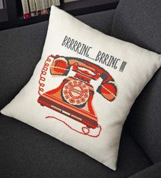 Retro Telephone Pillow to cross stitch. I love this one it is very cool. Pin leads back to The Making Spot with ordering information.