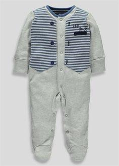 Boys Waistcoat Sleepsuit (Tiny Baby-18mths)