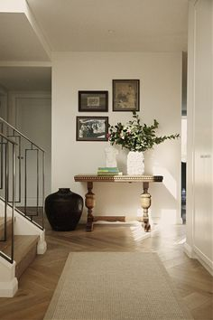An elegant and simple vignette of the entry hall at our residential interior project in Bronte Australia