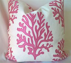 """Lilly Pulitzer Lee Jofa SEAFAN Hibiscus Embroidered Coral Linen Blend Custom Pillow, Throw Pillow, Decorative Pillow 19""""x19"""" by yorkshiredesigns on Etsy"""