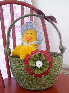 Fabric Coiled Easter Basket, Vintage Button, Plastic Easter Eggs by StitchedByMary on Etsy
