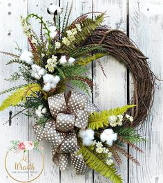 Farmhouse Spring Summer Neutral Wreath Decor Everyday Grapevine Arrangement NEW Wreaths For Front Door, Door Wreaths, Grapevine Wreath, Diy Arts And Crafts, Crafts To Make, Diy Crafts, Crafty Craft, Summer Wreath, Floral Arrangements