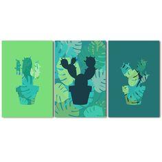 3 affiches cactus avec déclinaison de verts et motifs jungle tropicale