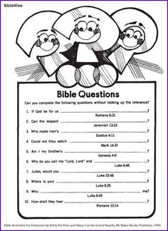 Answer Different Questions from the Bible - Kids Korner - BibleWise