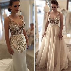 A gold beaded gown set the stage for a glam puerto rican wedding sexy straps rhinestone illusion wedding dress sheath removable train white ivory in clothing shoes accessories wedding formal occasion junglespirit Images