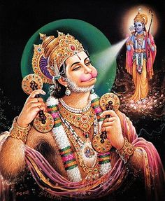 "Lord Hanuman in web of Time: This is most enlightening chapter. This shloka's meaning is enshrined in this chapter. For example, when we human beings think of time, we think of a clock. But when Gods think of time, they think of ""strings of Time"". In this mantra the word ""kaal tantu kaarecharanti"" means ""the one who moves in web of strings of time."""