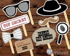 Secret Agent Spy Photo Props INSTANT DOWNLOAD Decoration Detective Birthday Party Printables Photo Booth Bunting Personalize + Edit @ Home