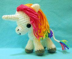 Customizable crocheted rainbow unicorn plush art doll by Syppah's Cute Creations