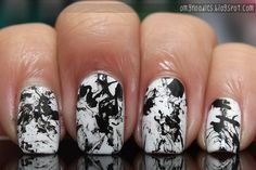 Awesome Black & White Splatter Nails
