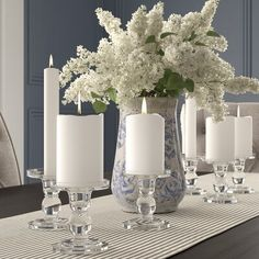 Shop a great selection of 6 Piece Glass Candlestick Set Darby Home Co. Find new offer and Similar products for 6 Piece Glass Candlestick Set Darby Home Co. Dining Room Table Centerpieces, Decoration Table, Centerpiece Ideas, Dining Tables, Pillar Candle Holders, Pillar Candles, Candle Tray, Dining Table Decor Everyday, Everyday Centerpiece