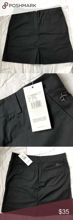 """NWT Cross Luxury Brand Black Vera Skort Size 10 Luxury golf clothing by Swiss brand Cross.  This skort has double button waistband, front slash pockets and back drop in pockets.  The underlying shorts have lightweight moisture wicking fabric and quality seam placements.    Waist laying flat measures approximately 16.5"""" Length is approximately 19""""  Smoke free 🏡.  Please feel free to ask any questions! Cross Shorts Skorts"""