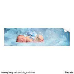 Fantasy baby and stork bumper sticker