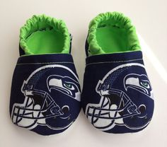 Awesome except I want OU ones...New Seattle Seahawks Fabric Cloth Baby Booties by saluna on Etsy, $15.00