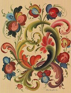 "Rosemaling Card .... It's obvious that I am very ""taken"" by Telemark-style rosemaling. Some of my cousins are very proficient at it, and I love to see their work."
