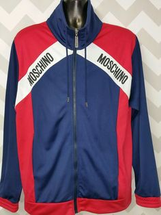 81bfc06dc0a323 Men's Moschino Logo Athletic Style Jacket Red /white /blue SZ L #Moschino #