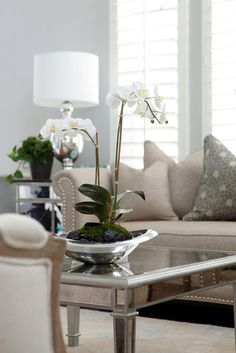 Soft Gray Living Room ~ and I love the orchids.