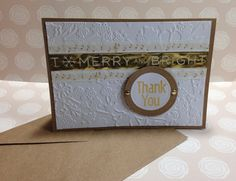 Embossed Gold & White Washi Tape Thank You Card  by MyPaperFrog