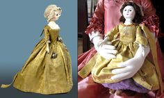 Eliza, one of the dolls inspired by an actual girl's toy, at the V&A. Like the original, Miss Eliza has a dress with leading strings!