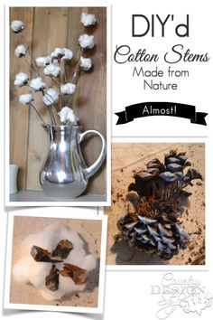 Cotton stems DIY mostly from nature. Click to read how these were simply made. Country Design Style