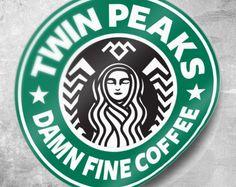 Twin Peaks Sticker, Damn Fine Coffee Sticker, Starbucks Coffee, 3 inch Sticker