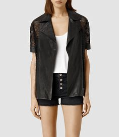 Womens Punched Leather Jacket (Black) - product_image_alt_text_1