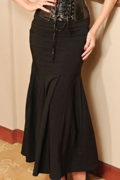 Black Lace-Up Maxi Skirt