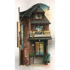 Hughs Room in has covered Bloor West Village. Toronto Neighbourhoods, West Village, Canadian Artists, Big Ben, Clock, David, Bird, Wall Art, Illustration