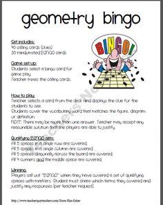 Geometry game! Bingo- my algebra students love matho this sounds awesome! #geometry #mathfun #bingo