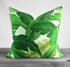 Pillow Cover - Tommy Bahama Indoor/Outdoor Swaying Palms Aloe Fabric - Shades of Green on Ivory - Pick Your Size