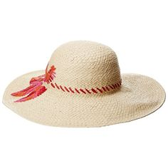 LAUREN Ralph Lauren Sun Hat with Palm Embroidery (Natural/Fuchsia)... (1.580 ARS) ❤ liked on Polyvore featuring accessories, hats, round brim hats, palm straw hats, embroidered caps, cap hats and straw beach hat