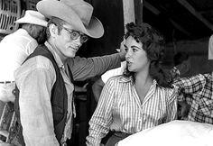 "jamesdeaner: "" James Dean and Elizabeth Taylor on the set of Giant, photographed by Richard Miller. """