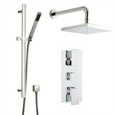 Cascade Modern Square Head And Matching Slide Rail Kit With Square Built In  Shower Mixer.