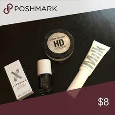 Makeup Lot 1. Milk Makeup Mascara-used once. 2. Formula X nail polish .13 oz never used in huntress 3. City Color HD powder. Used once Makeup