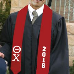 Theta Chi Red 2016 Graduation Stole