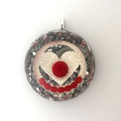Orgonite Silver Heart Domed Pendant with Red Jade by AttunementShop on Etsy