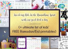 As part of a Ramadan project, 'Muslim Aid' is promoting the good deed everyday challenge - starting from kids to help them learn charitable giving from a young age. While AYEINA lists all the FREE Ramadan and Eid printables to help you involve kids in the Ramadhan Spirit