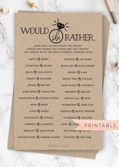 Would She Rather Bridal Shower Game . Who Knows the Bride Best . - Would She Rather Bridal Shower Game . Who Knows the Bride Best . Rustic Kraft and - Fun Bridal Shower Games, Bridal Shower Planning, Wedding Reception Planning, Printable Bridal Shower Games, Bridal Shower Favors, Bridal Ahower Games, Wedding Favors, Bridal Shower Gifts For Bride, Beach Bridal Showers