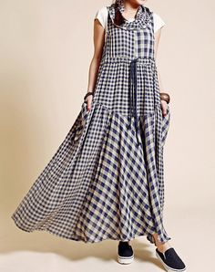 Plaid Sleeveless Long dress/ Pile collar Big swing womens dress