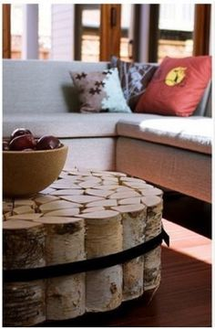 I am crazy about anything birch tree since I was young...DIY -birch tree coffee table