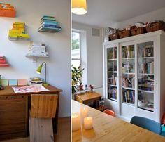 (image on the left). Love the invisible shelves with colour-coded books!