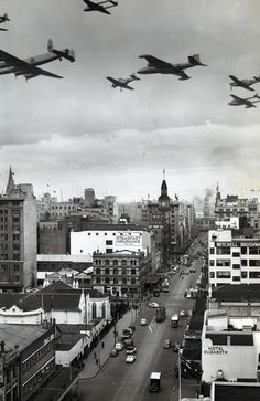 Melbourne in 1954: Made in Australia Week was launched when RAAF pilots flew these seven Australian-made planes over Elizabeth Street in the city.