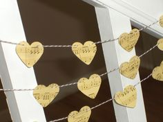 Vintage Inspired Music Sheet Heart Garland - 3 yards - Wedding and Home Decoration. $4.50, via Etsy.