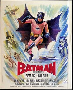Batman 1966 France - original vintage movie poster for the classic superhero film Batman adapted from the DC Comics character, directed by Leslie H. Martinson and starring Adam West in the lead role with Burt Ward as Robin and Lee Meriwether, Cesar Romero Batman Full Movie, Batman Film, Batman Tv Series, Batman 1966, Batman Poster, Batman Robin, Lee Meriwether, Adam West, Catwoman